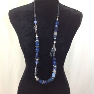 VINTAGE 80's POLISHED STONE & LEATHER LONG NECKLAC